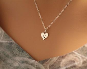 Sterling Silver N Letter Heart Necklace, Silver Tiny Stamped N Initial Heart Necklace, Stamped N Letter Charm Necklace, N Initial Necklace