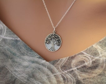 Sterling Silver Tree of Life Pendant Necklace, Tree Charm Necklace, Tree of Life Necklace, Tree Necklace, Tree of Life Charm Necklace
