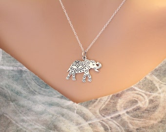 Sterling Silver Elephant Pendant Necklace, Decorated Elephant Charm Necklace, Beautiful Elephant Pendant Necklace, Elephant Charm Necklace