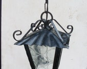 lantern vintage for outdoor, lamp for external, lantern for interior in wrought iron and frosted glass lantern to hang of color black 1 bulb