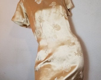FREE  SHIPPING  1950 asian Silk Dress