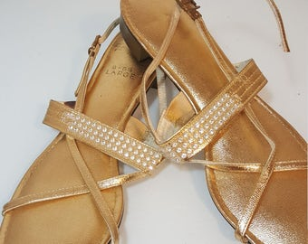 FREE  SHIPPING  1960 Gold  Sandals