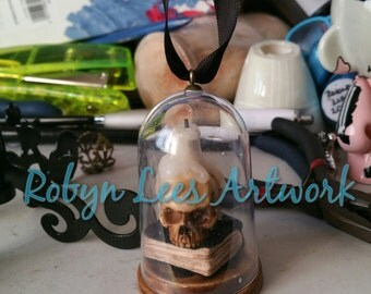 Large Antiqued Resin Human Skull Jar Bottle Necklace or Hanging or Standing Ornament with Book & Melting Candle. Gothic, Pagan, Diorama