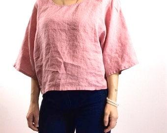 Loose Kimono Top / Linen / Pink