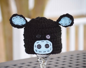 black angus cow hat, angus cow hat, angus hats, angus cow hats, black angus hats, cow hats, newborn cow hat, baby cow hat, crochet cow hat