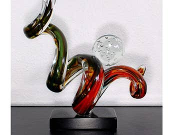 Mid Century Modern Murano Twisted Art Glass Artist Signed Table Sculpture