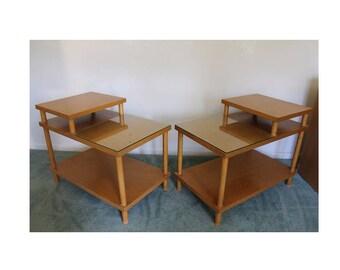 Mid Century Modern Pair of Robsjohn Gibbings Widdicomb 2 Tiered Side End Tables