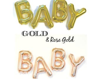 BABY Balloon Garland Gold Letter Balloons Baby Shower Decor Gold Foil BABY Balloons Gold Mylar Letters BABY Announcement Gender Reveal Ideas