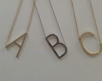 Large Initial Necklace; Designer Inspired Large Sideways Initial Pendant Necklace; Oversized Initial Necklace