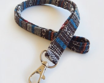 Woven Lanyard / Boho Keychain / Ethnic Lanyard / Bohemian / Key Lanyard / Turquoise / Woven Stripe Fabric / ID Badge Holder