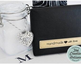 "24 Kraft ""Handmade with love"" Rectangle Stickers//Seal Stickers//Craft Stickers//Jar Stickers//Tamper Proof Stickers//Embellishment"