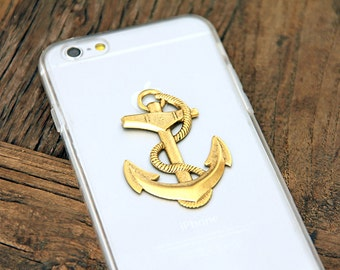 Anchor iPhone 6 Case Nautical Ship 24kt Gold Phone Cover with Gorgeous Vintage Embellishment Hard Cover for Sailing Sailor Sailboat