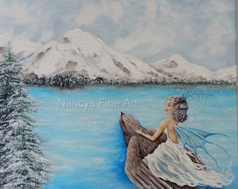Original fairy painting on canvas, 16x20 ice princess art, winter fairy painting, free shipping, Original artwork by Nancy Quiaoit.