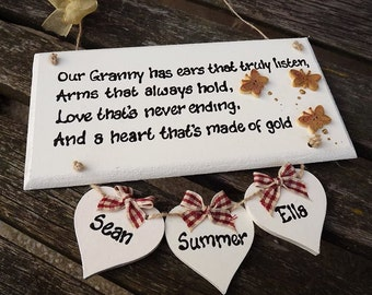 Our GRANNY HAS EARS... Personalised Wooden plaque for Granny, Nana, Nanny, Gran, Grandma. With up to 5 names attached.