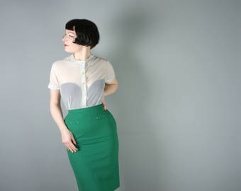 KELLY GREEN 50s pencil skirt in light wool by Maurice Benson - arrow point waist darts - secretary fitted WIGGLE skirt - S