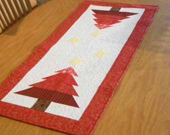 Quilted Christmas Table Runner Christmas Tree and Stars