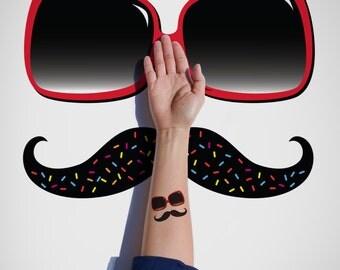 Summer temporary Tattoo / Sunglasses Temporary Tattoo/Moustache Temporary Tattoo/ Fun Temporary Tattoo/ Flash Tattoo/ Cute & Fun Tattoo