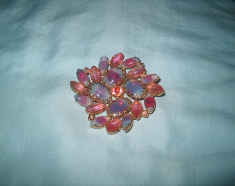 Vintage Costume Jewelry Rhinestone Brooch Pin, Pink & Blue Stones