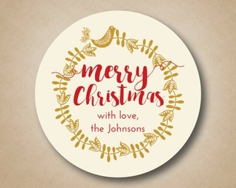 Christmas Gift Tags Gold Christmas Stickers Scandinavian Wreath Holiday Tags Christmas Labels Custom Holiday Stickers Wreath Bird Sticker