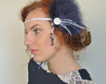 1920s Great  Gatsby Headpiece,  Navy Blue Silver 20's Headpiece, Navy Fascinator ,  Prom Hair Clip, Prom Headpiece ,1920s Headpiece- LOUELLA