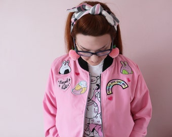 Custom Frilly Pops Patch Jacket! Kawaii, Harajuku Style, Japanese Inspired, Tokyo fashion, bomber jacket.