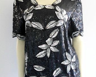Super Sparkly Black + Silver Sequin Short Sleeve 'Royal Feelings' Top