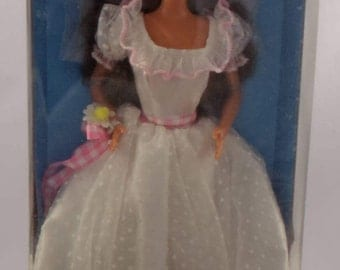 Vintage Brunette Country Bride Barbie Walmart Exclusive #13616/Antique Country Bride Barbie/Brunette Wedding Dress Barbie/Collectible Gift