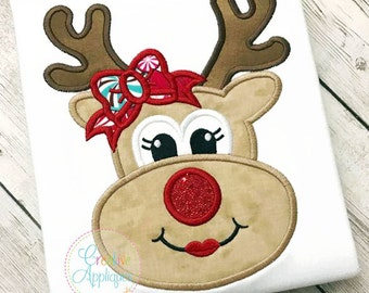 Girl Reindeer Applique Digital Machine Embroidery Design 4 Sizes, reindeer applique, reindeer embroidery, girl reindeer bow applique