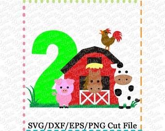 Barn with Animals Birthday 2 svg cutting file, farm animals svg, horse svg, cow svg, pig svg, barn svg, farm svg, 2nd birthday, farm animals
