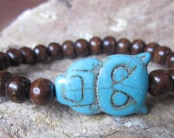 beaded bracelet mens bracelet Turquoise blue jewelry stone owl natural wooden beads southwestern bohemian women's stacking stretch bracelet