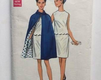Cape and shift dress sewing pattern, 1960s Pattern, Dress and cape pattern, Size 14, Bust 36,Vintage Sewing Pattern, Cut and Complete