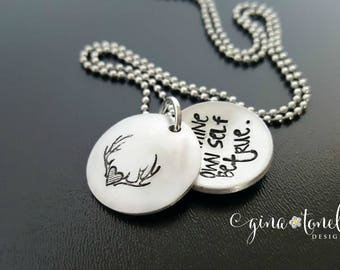 Inspirational Necklace, Shakespeare Jewelry, To Thine Own Self Be True, Graduation Necklace, Positive Inspiration Quote, Antler Necklace