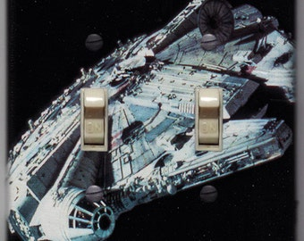Star Wars Millennium Falcon Double Light Switch Cover Han Solo Darth Vader