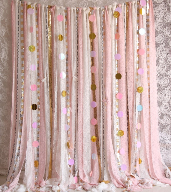 Pink White Lace Sparkle Sequin Backdrop Props Photoboothbaby