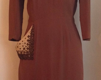 1930's Coffee Brown Rayon Crepe Dress with Asymmetrical copper Glass Beaded Pockets/Paul Parnes
