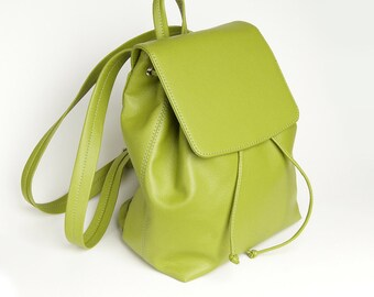 Green eco leather backpack, vegan leather backpack purse, women backpack, chartreuse women satchel, green backpack purse, designer backpack