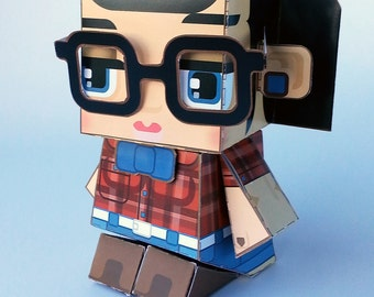 Make your own Hipster paper toy - ZLATA Cherry and Denim - D.I.Y craft activity kit. Great gift for kids and crafters - DIGITAL DOWNLOAD