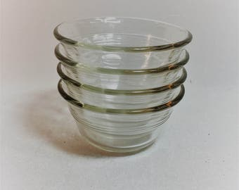 Vintage Clear Glass Custard Bowls Set of 4