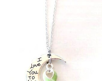 Lymphoma Lime Green Awareness I Love You To the Moon and Back Necklace You Select Chain Material and Length