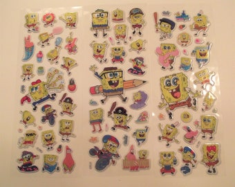 SPONGE BOB STICKERS,Scrapbook Stickers,Craft Supplies,Stickers for Girls or Boys,Party Favors,Easter Gift ,Stocking Stuffer,Puffy Stickers