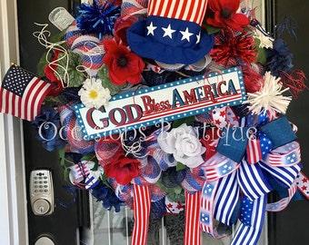 Summer Wreath, Patriotic Wreath, Fourth of July Wreath, July 4th Wreath, Door Hanger, Wreath for Door, Front Door Wreath