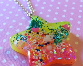 Neon Star Pendant / Resin Kawaii Star Necklace / Colorful Bright Summer Jewelry / Neon Jewelry / Fairy Kei Sweet Lolita Creepy Cute Star