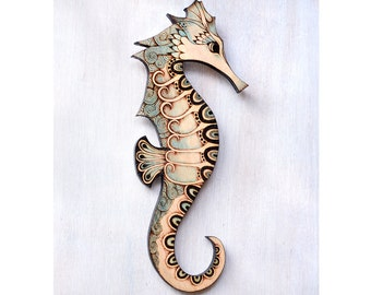 Seahorse Wall Hanging, Pyrography (Wood burning) Wood Wall hanging, sea art, marine decor, ocean art, seahorse Wall art, seahorse wall decor