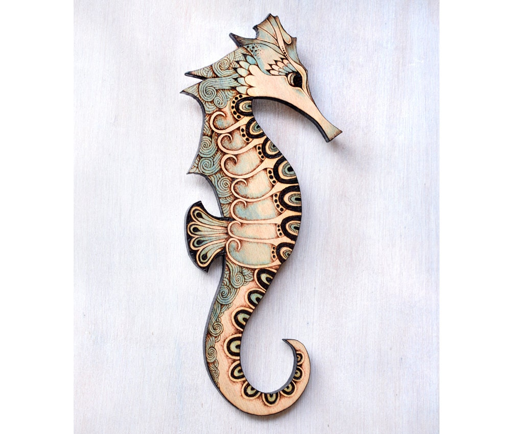 seahorse wall hanging pyrography wood burning wood wall. Black Bedroom Furniture Sets. Home Design Ideas