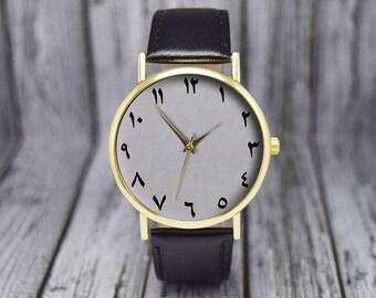 Arabic / Farsi Numerals / Numbers Watch | Minimalist | Leather Watch | Ladies Watch | Men's Watch | Birthday Gift Ideas | Fashion Accessory