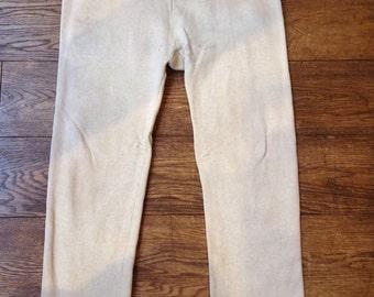Vintage 1950s cream marl flocked sweatpants tracksuit bottoms track pants drawstring waist sportwear athletic large