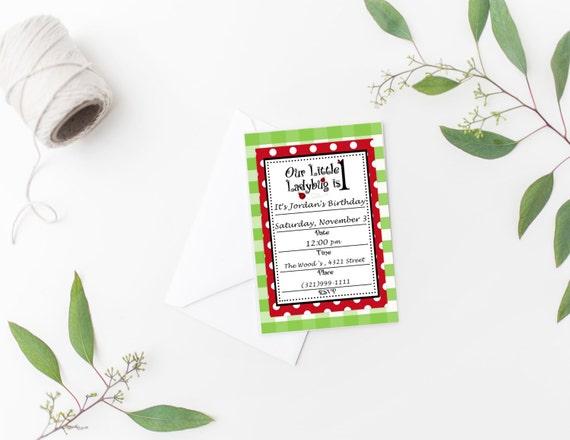 Buffalo Plaid Ladybug Invitation Printable Ladybug Birthday