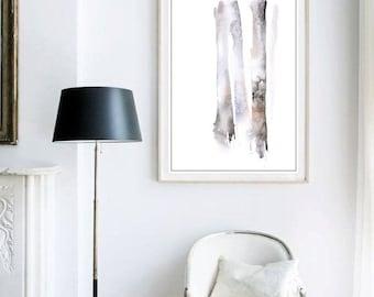 Tree Decor, Forest Watercolor Print, Tree Art Watercolor Painting, Living Room Art, Watercolor Art, Brown Wall Decor, Fine Art Giclee Print