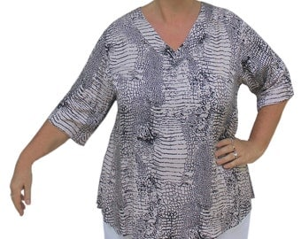 Women's Tunic Top V-Neck | Oversized Plus Size Tunic Tops Short Sleeve, Plus Size XL, 2X, 3X Clothes, Women's Casual Plus Size Clothing