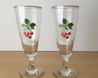 Pair of Vintage Cherry B Glasses- Only 1 Set Available